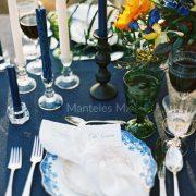 lino azul royal closeup